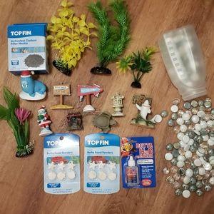 Topfin fish tank lot, plants, accessories, pebbles